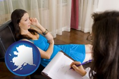 alaska map icon and a counseling session