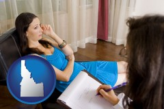 idaho map icon and a counseling session