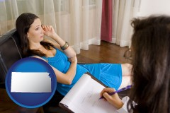 kansas map icon and a counseling session
