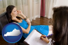 kentucky map icon and a counseling session