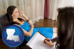 louisiana map icon and a counseling session