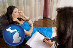 michigan map icon and a counseling session