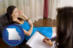 missouri map icon and a counseling session