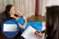 pennsylvania map icon and a counseling session