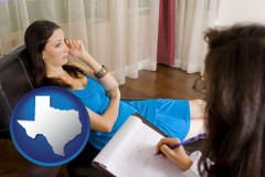 texas map icon and a counseling session