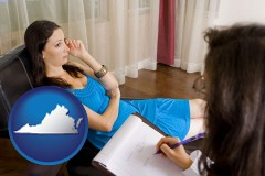 virginia map icon and a counseling session