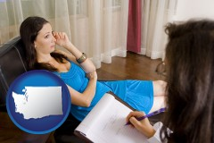 washington map icon and a counseling session